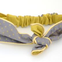 Bandeau coton France Duval gris étoiles, doublure banane et passepoil doré