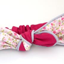Bandeau coton mini fleurs roses, doublure fuschia et passepoil gris pâle