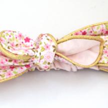Bandeau coton mini fleurs roses, doublure pétale et passepoil doré