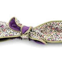 Bandeau Liberty Eloise prune, doublure violet et passepoil kaki