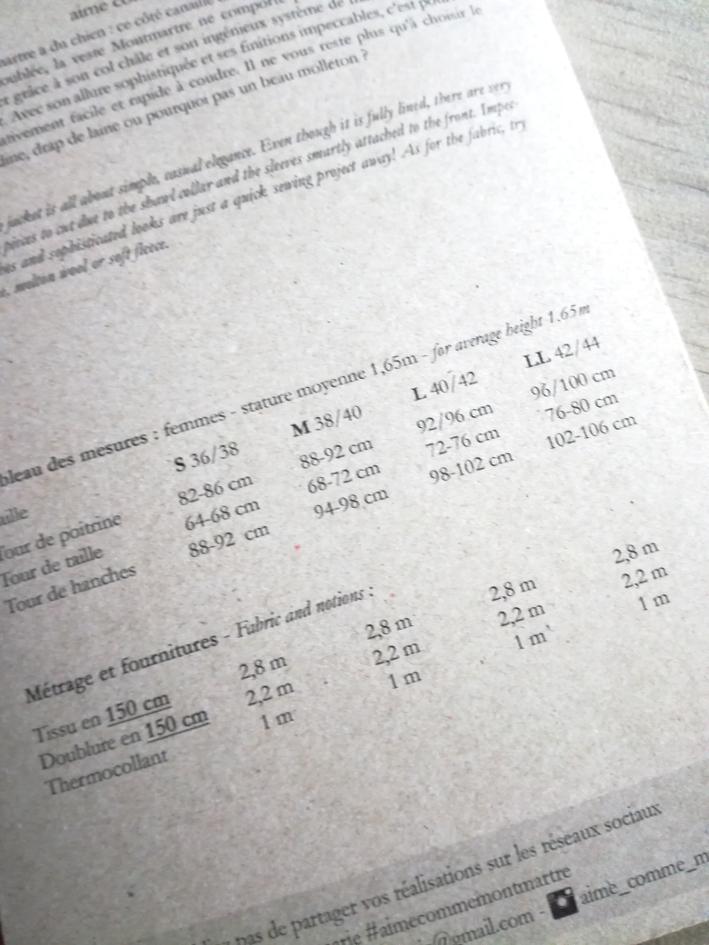 Montmartre : les tailles proposées pour le patron